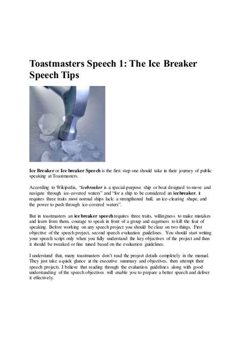 Toastmasters Icebreaker Speech Sle toastmasters speech
