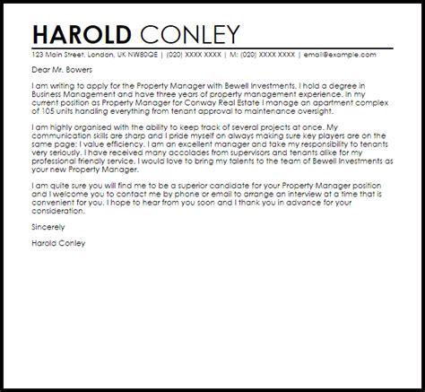 Property Manager Cover Letter Sample   LiveCareer