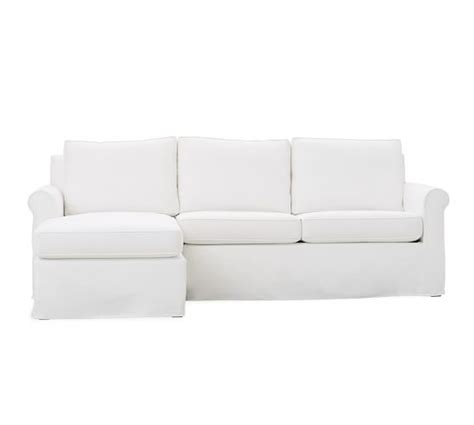 slipcovered sofa with chaise cameron roll arm slipcovered sofa with reversible chaise