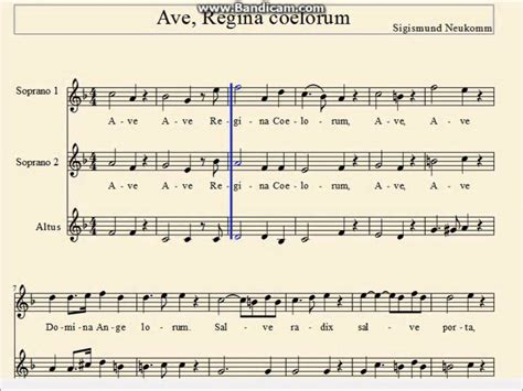 sections of a choir ave regina by s neukomm for ssa choir choral parts