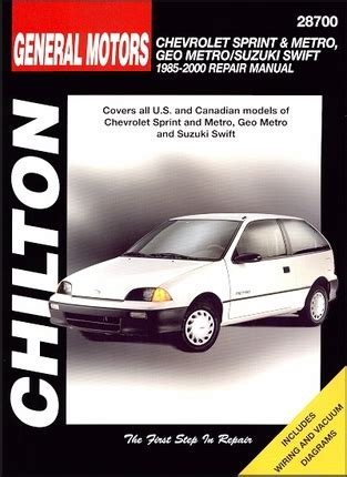 chevy sprint geo metro suzuki swift repair manual 1985 2000
