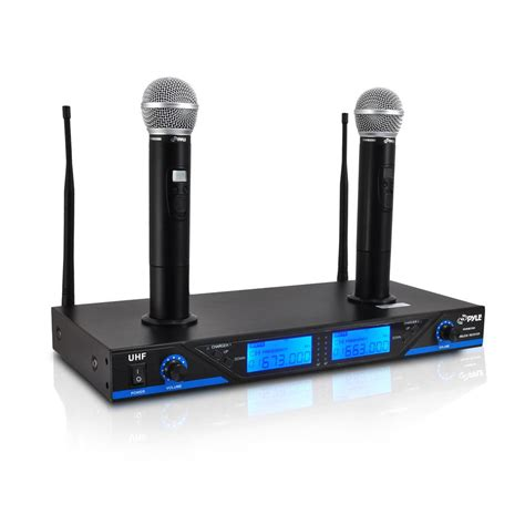 Mic Wireless Doubel Sound Uhf Dielngkapi Lcd Display pylepro pdwm2560 home and office microphone systems musical instruments microphone
