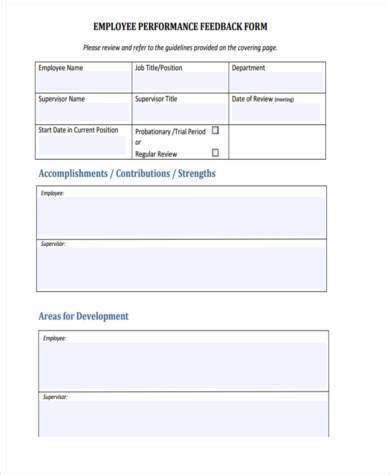 8 employee feedback form sles free sle exle