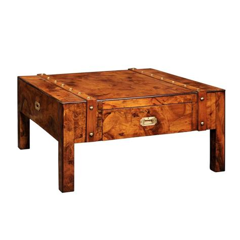 one coffee tables mid century caign burled wood coffee table with