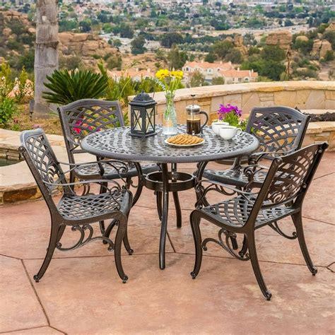 outdoor patio furniture pcs bronze cast aluminum dining set ebay