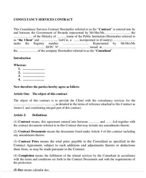 sle consulting contract template master service agreement template consulting 28 images