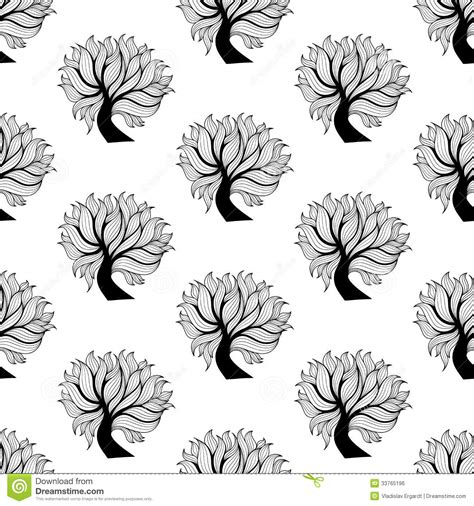 black and white tree pattern seamless pattern background black and white tree royalty