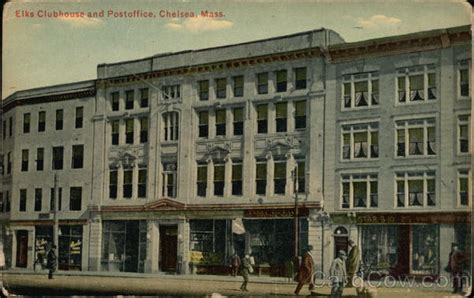 Chelsea Post Office by Elks Clubhouse And Post Office Chelsea Ma Postcard