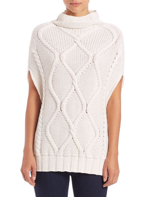 mens white cable knit sweater eleventy cable knit turtleneck sweater in white for lyst