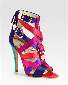 colored sandals shoe of the day brian atwood strappy multicolored satin