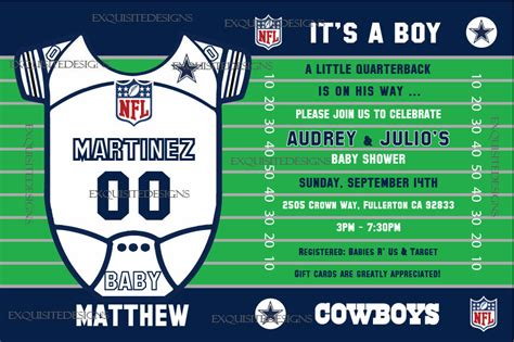 Dallas Cowboys Baby Shower Invitations dallas cowboys baby shower invitation