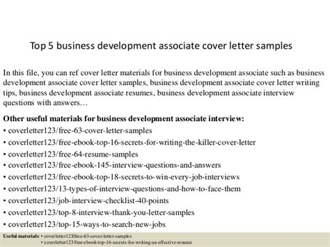 Development Associate Cover Letter by Top 5 Business Development Associate Cover Letter Sles