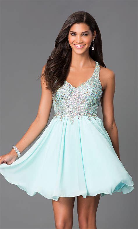 short   beaded bodice prom dress promgirl