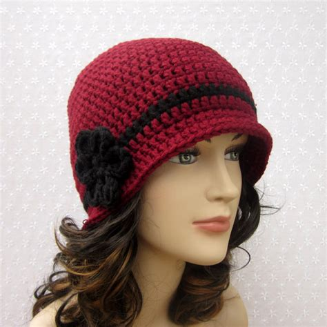 cranberry crochet hat womens cloche flapper