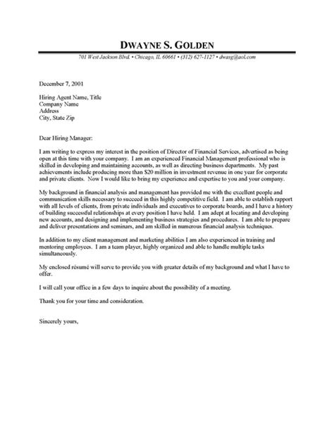 Finance Cover Letter Exle Financial Manager Cover Letter Resume Cover Letter
