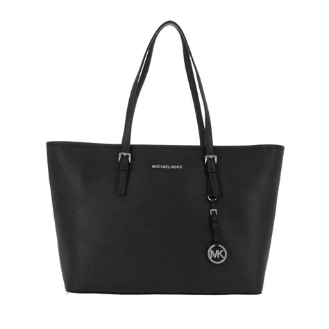 michael kors jet set travel tz tote silver black  black