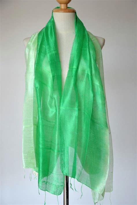 dyed scarf mint green scarf thai silk scarf 100
