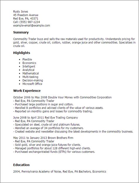 Commodity Broker Cover Letter by 1 Commodity Trader Resume Templates Try Them Now Myperfectresume
