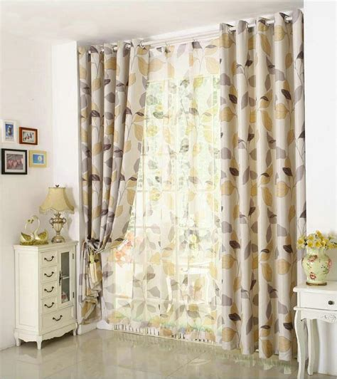 european style linen plant printed curtains for kitchen