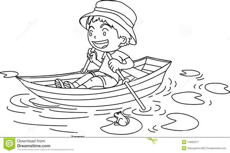 easy to draw rowboat a boy in a boat stock vector image of watching water