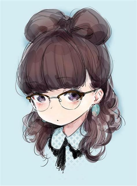 anime tomboy girl with glasses and short dark hair anime art pretty girl glasses hair bow hair