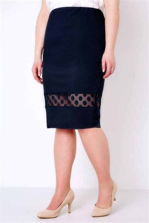 navy liverpool pencil skirt with polka dot mesh insert