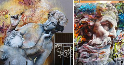 murals  greek gods rendered   chaotic backdrop