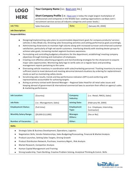 sles of descriptions templates sales executive description template by bayt