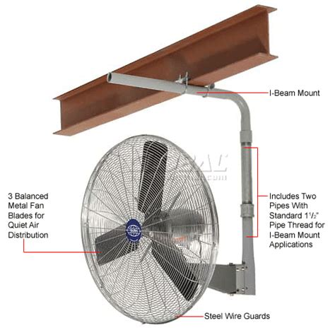 global oscillating wall mount fan 24 diameter fans ceiling beam fans global deluxe i beam mount