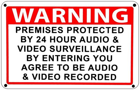 warning premises 24 hr audio surveillance home