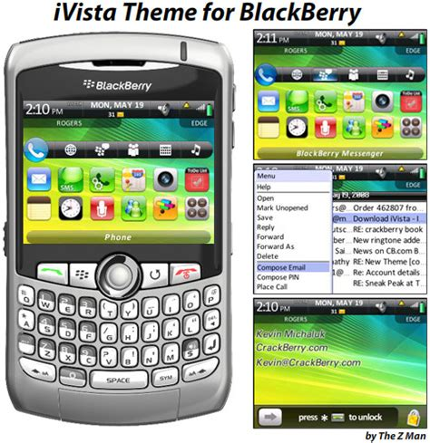 themes of blackberry ivista premium theme for blackberry pearl curve and 88xx