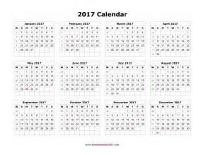 Yearly Calendar 2017 And 2018 Blank Calendar 2017
