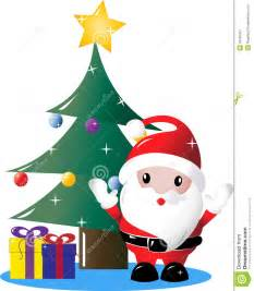 Christmas Trees Decorated In Red - santa under christmas tree with presents royalty free