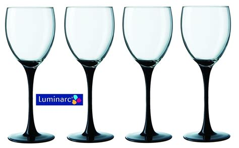 wine glass without stem luminarc domino set of 4 wine glasses with black stem