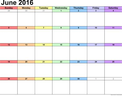 printable month calendar june 2016 june 2016 weekly calendar blank printable templates
