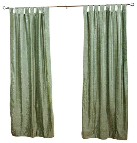 Olive Green Curtains Drapes Olive Green Tab Top Velvet Curtain Drape Panel 43w X 63l Traditional Curtains