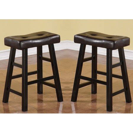 Faux Leather Counter Height Bar Stools by Set Of 2 Espresso Faux Leather Solid Wood 24 H Saddle