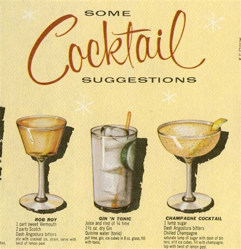 classic cocktail recipes vintage 1950s cocktail placemat