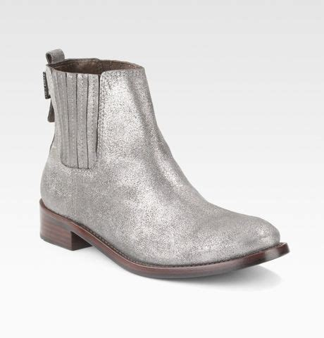 burch powder suede wade ankle boots in silver pewter