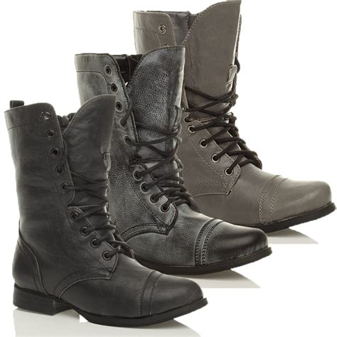womens low heel lace up zip army combat