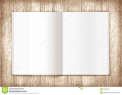 blank magazine spread template blank magazine on wooden background template stock illustration image 55206894