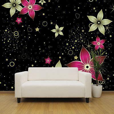 Large Flower Wall Murals black gold and pink flowers wallpaper mural bedroom design