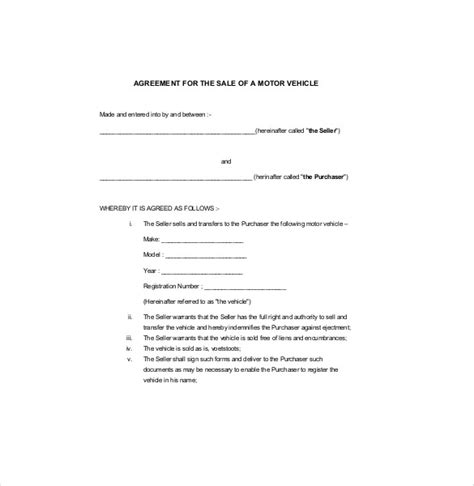 motor vehicle sales agreement template car sales contract sle vlashed