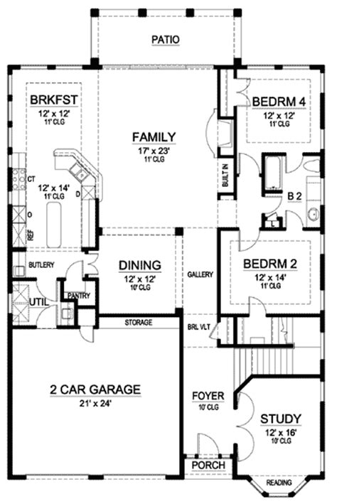 spanish mission floor plan mission style in two versions 36347tx 2nd floor master suite butler walk in pantry cad