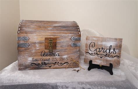 Wedding Card Chest by Aged White Wedding Card Chest With Card Slot Personalized