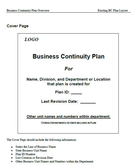 business continuity plan template doc sle business continuity plan template 13 free