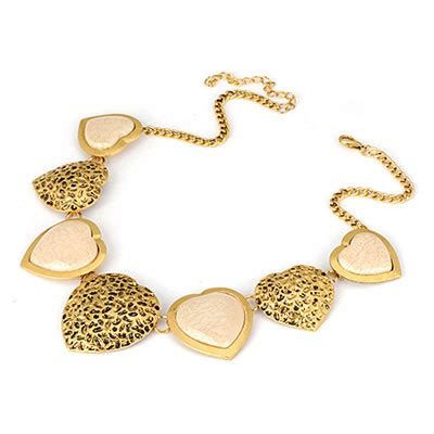 Kalung Korea Choker Pendant Decorated Hollw Out Weaving stainless beige hollow out shape alloy bib necklaces asujewelry