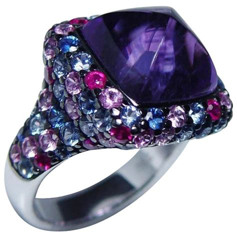 Ruby 9 5ct vintage amethyst sapphire ruby ring 18k white gold 9 5ct