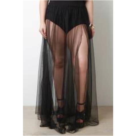 bellavi brief semi sheer tulle maxi skirt black 1x