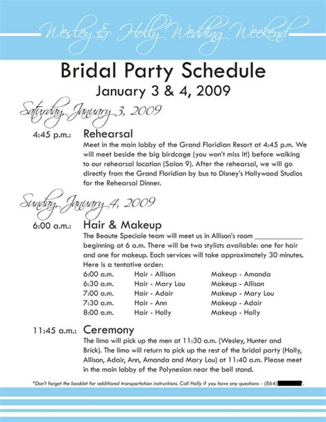 wedding schedule template wedding reception timeline